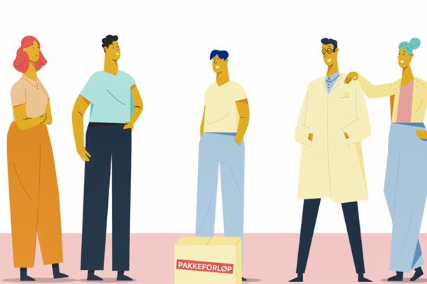 Tegnet illustrasjonsbilde av pasienter og behandlere